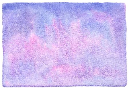 大まかな、不均一なエッジを持つ抽象的な水彩画の背景。バイオレット、ライラックとピンクの光水彩の汚れ。塗装のテンプレートです。紙の質感 写真素材