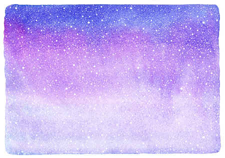 Winter watercolor horizontal gradient background with falling snow splash texture. Christmas, New Year hand drawn template with uneven edges. Shades of blue and lilac watercolour stains. Stok Fotoğraf