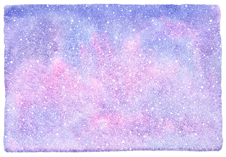 northern light: Winter watercolor abstract background with falling snow splash texture. Christmas, New Year hand drawn template with uneven edges. White snowflakes, shades of blue and pink watercolour stains.