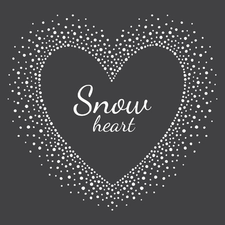 grunge frame: Heart shape snow frame with empty space for your text. Winter Valentines day frame made of snowflakes or dots of various size. New Year, Christmas black and white abstract background.