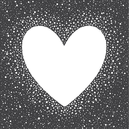 big size: Heart shape snow frame with empty space for your text. Winter Valentines day template made of big snow heart with spots or flakes of various size. New Year, Christmas black and white background.