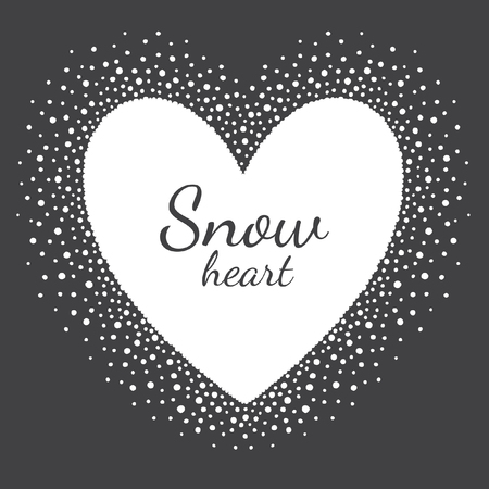 big size: Heart shape snow frame with empty space for your text. Winter Valentines day template made of big snow heart with dots or flakes of various size. New Year, Christmas black and white background.