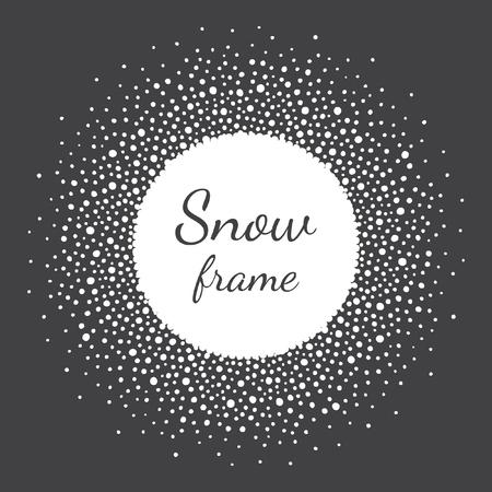 fond de texte: cadre de la neige ronde avec un espace vide pour votre texte. Cadre d'hiver fait de taches ou de points de taille vaus. forme de cercle. Nouvel An, Noël noir et blanc abstrait. Illustration
