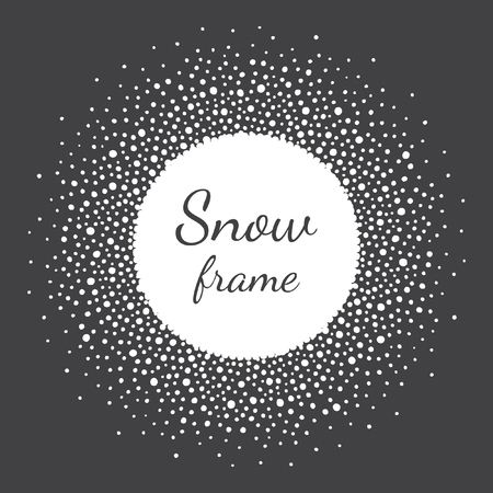 text space: Round snow frame with empty space for your text. Winter frame made of spots or dots of various size. Circle shape. New Year, Christmas black and white abstract background.