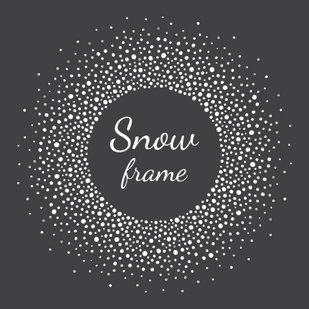 Round snow frame with empty space for your text. Winter frame made of spots or dots of various size. Circle shape. New Year, Christmas black and white abstract background.
