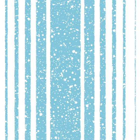 rows: Winter vector seamless pattern. White stripes of different width on blue backdrop and snow splash grunge texture. Brush drawn - rough, artistic edges. Striped new year background.