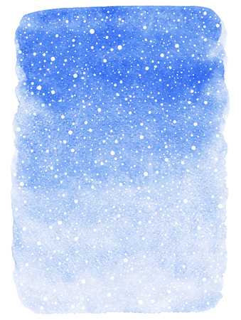 Winter watercolor abstract background with falling snow splash texture. Christmas, New Year light cobalt blue painted template. Gradient fill. Rough edges. Snowfall texture.