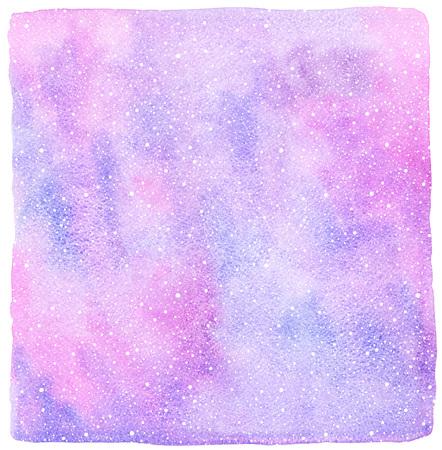 flocon de neige: Hiver fond d'aquarelle abstraite avec la chute neige texture de d�marrage. No�l, Nouvel An dessin� � la main mod�le avec des bords irr�guliers. Flocons blancs, nuances de taches d'aquarelle bleu et rose.