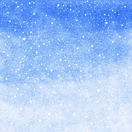 pastel backgrounds: Winter watercolor abstract background with falling snow splash texture. Christmas, New Year light cobalt blue painted template. Gradient fill. Snowfall texture.
