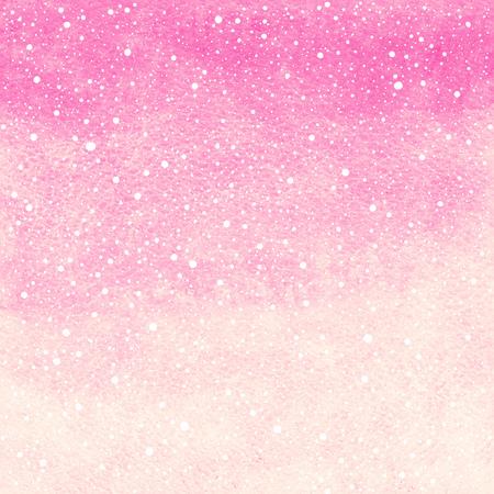 떨어지는 눈 시작 텍스처와 소프트 핑크 겨울 수채화 추상적 인 배경입니다. 크리스마스, 새해 템플릿을 그렸다. 그라데이션 채우기. 손은 눈이 질감을