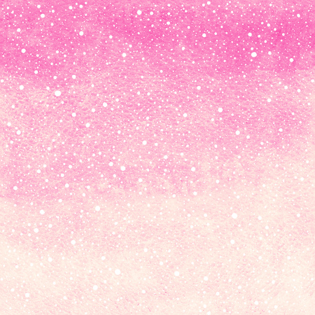 Soft pink winter watercolor abstract background with falling snow splash texture. Christmas, New Year painted template. Gradient fill. Hand drawn snowfall texture. Stockfoto