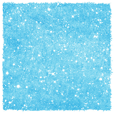 sputter: Winter snowfall hand drawn watercolor background. Blue sky with splash snow texture. Rough, artistic edges. Christmas, New Year template with snowflakes. Stock Photo