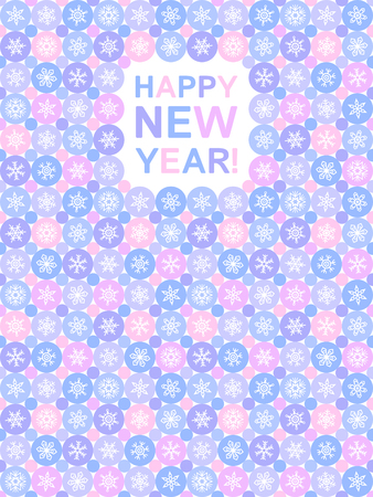 tiny: Simple flat design Happy New Year greeting card with various tiny snow crystals and circles. Snowflakes of various type on abstract geometrical background illustration with lettering. Colorful.