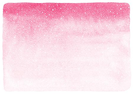 ピンクのグラデーションの水彩の抽象背景落下に雪テクスチャのスプラッシュ。冬またはバレンタインの日は、大まかな、不均一なエッジとテクス