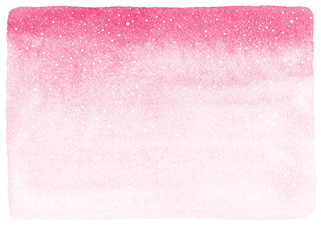 Pink gradient watercolor abstract background with falling snow splash texture. Winter or Valentines day painted fill with rough, uneven edges and paper texture. Hand drawn snowfall template. 免版税图像