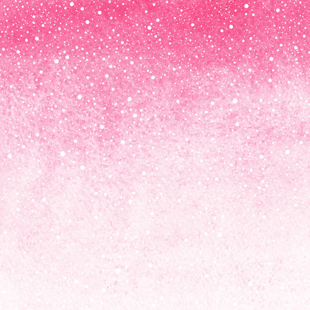 Pink gradient winter or valentines day watercolor abstract background with falling snow splash texture. Painted fill template with rough paper texture. Hand drawn snowfall texture.