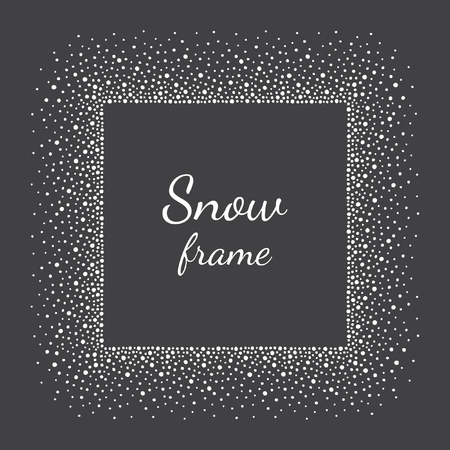 splatter paint: Snow or dots frame with empty space for your text. Winter background made of spots or snowflakes of various size. Square shape. New Year, Christmas black and white abstract template.