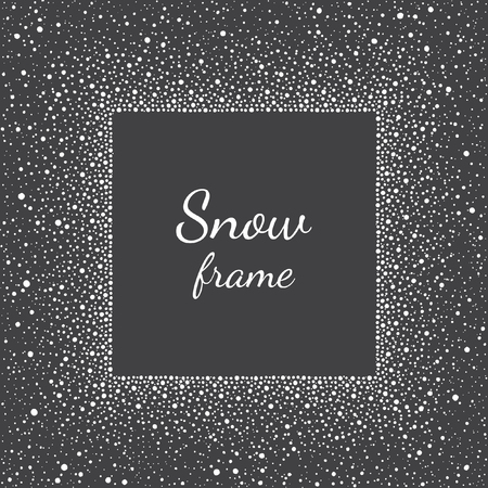 brush paint: Snow or dots frame with empty space for your text and splash texture. Winter background made of spots or stars of various size. Square shape. New Year, Christmas black and white abstract template.