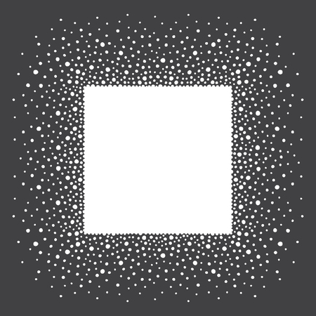 sputter: Snow or dots frame with empty space for your text. Winter background made of spots or snowflakes of various size. Square shape. New Year, Christmas black and white abstract template.