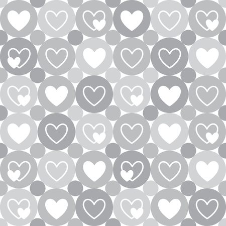 Hearts and circles seamless geometrical pattern. Valentine's Day simple monochrome background. Flat design. Shades of grey and white.