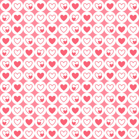 tiny: Tiny hearts and circles seamless geometrical pattern. Valentines Day simple background. Flat design. Shades of red and white.