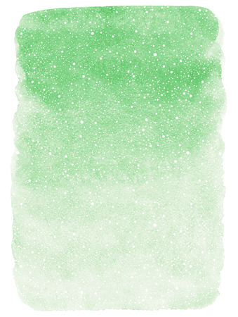 snowfalls: Winter watercolor abstract background with falling snow splash texture. Christmas, New Year light green painted template with tiny snowflakes. Gradient fill. Rough edges.