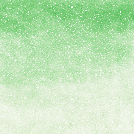 Winter watercolor abstract background with falling snow splash texture. Christmas, New Year light green painted template with tiny snowflakes. Gradient fill. Snowfall texture.