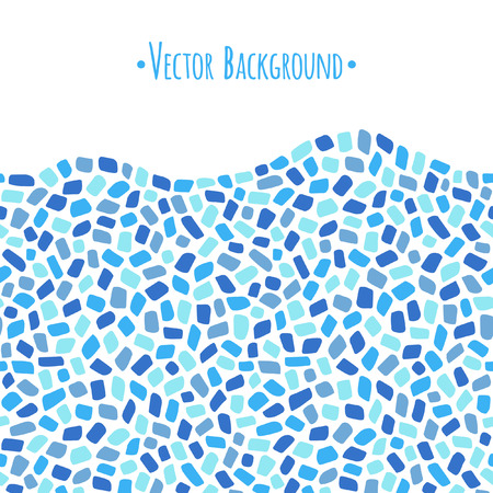 Abstract geometrical background with wavy edge. Mosaic or inlay border seamless in horizontal direction. Frame made of tiny polygonal pieces. Ceramic tile. Shades of blue.