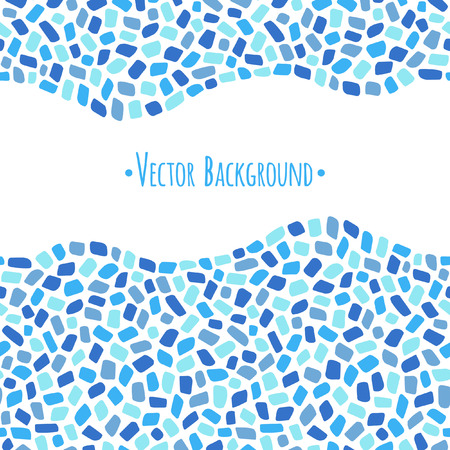 borders abstract: Abstract geometrical background. Mosaic or inlay borders with wavy edges seamless in horizontal direction. Shades of blue. Frame made of tiny polygonal pieces. Ceramic tile stylization.