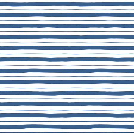 Narrow and wide hand drawn stripes seamless  pattern. Navy blue and white striped background. Slightly wavy uneven streaks. Bars of different width texture. Illustration