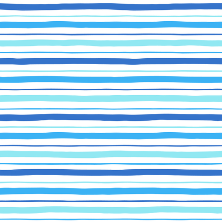 Narrow and wide hand drawn stripes seamless pattern. Shades of blue and white striped background. Slightly wavy uneven streaks. Bars of different width texture.