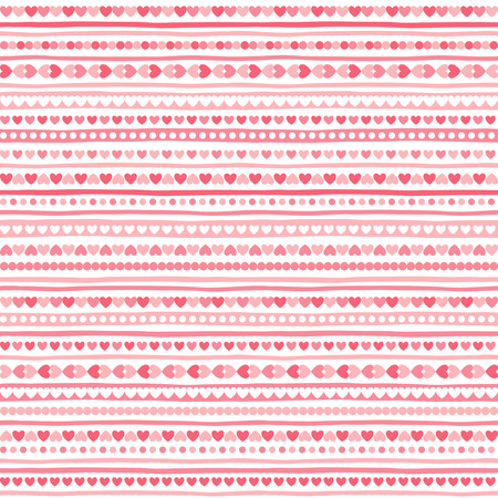 Geometrical abstract seamless pattern with tiny heart shapes, circles and stripes. Striped Valentines day background. Streaks made of hearts. Uneven bars with simple small elements texture. Illustration