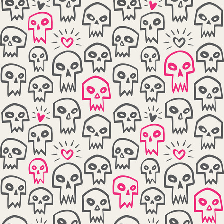 vampire teeth: Hand drawn evil skulls with hearts seamless pattern. Cute cartoon skulls with sharp vampire teeth and shining hearts. Valentines day funny background. Theme of love and death design.