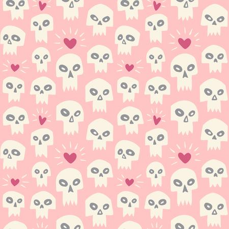 muerte: Dibujado a mano cráneos malvados con corazones sin fisuras patrón. Dibujo animado lindo de los cráneos con dientes de vampiro afilados y brillantes corazones. Día de San Valentín fondo divertido. Tema del amor y de la muerte de diseño. Vectores