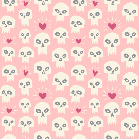 Hand drawn evil skulls with hearts seamless pattern. Cute cartoon skulls with sharp vampire teeth and shining hearts. Valentines day funny background. Theme of love and death design.