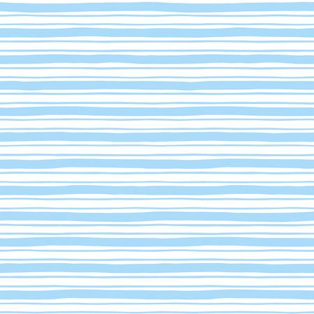 rayas dibujadas estrecha y ancha mano sin patrón. La luz de fondo azul y blanco a rayas. Ligeramente ondulado rayas desiguales. Barras de textura diferente anchura. Ilustración de vector