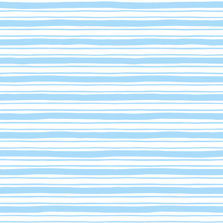 Narrow and wide hand drawn stripes seamless pattern. Light blue and white striped background. Slightly wavy uneven streaks. Bars of different width texture. Vettoriali