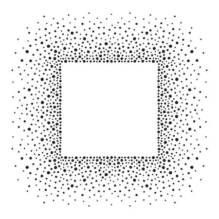 sputter: Square dots frame with empty space for your text. Background made of spots or blobs of various size. Square shape. Black and white abstract template.