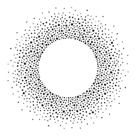 텍스트에 대 한 빈 공간을 가진 라운드 도트 프레임. 잉크 반점 또는 다양한 크기의 도트로 만들어진 프레임. 원형 모양입니다. 흑인과 백인 추상적 인  일러스트