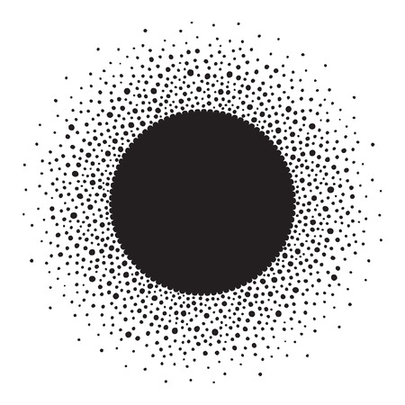 sputter: Round dots frame with empty space for your text. Frame made of ink spots or dots of various size. Circle shape. Black and white abstract background.