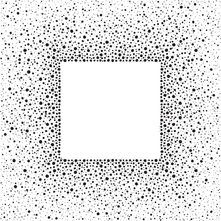 sputter: Black square dots frame with empty space for your text and splash texture. Abstract background made of spots or blobs of various size. Square shape. Black and white frame template.