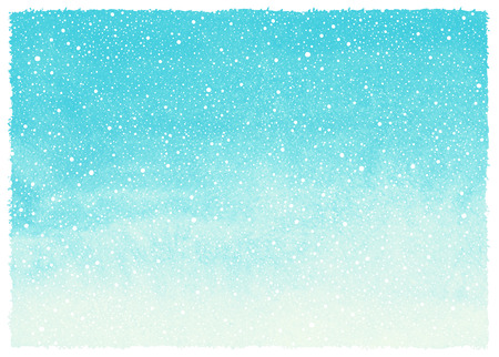 Winter watercolor abstract background with falling snow splash texture and rough, artistic edges. Sky blue Christmas, New Year painted template. Horizontal gradient fill. Hand drawn snowfall. 免版税图像