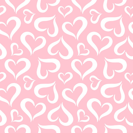 upturned: Hearts seamless pattern. Valentines Day background. Stylized cute heart shapes made of two curved parts. Hearts of different sizes texture. White and pink.