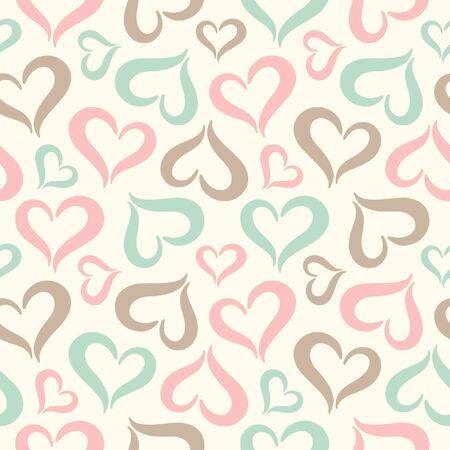 Corazones de fisuras. San Valentín fondo de la vendimia del día. Estilizados formas lindas del corazón hecha de dos partes curvas. Corazones de diferentes tamaños textura. Colores pastel suaves. Ilustración de vector