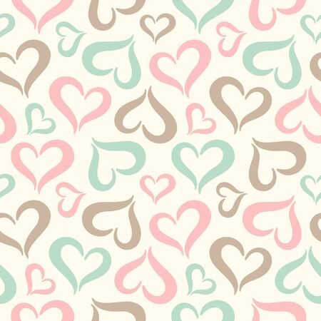 Hearts seamless pattern. Valentines Day vintage background. Stylized cute heart shapes made of two curved parts. Hearts of different sizes texture. Soft pastel colors.