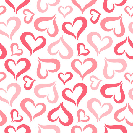 Hearts seamless pattern. Valentines Day background. Stylized cute heart shapes made of two curved parts. Hearts of different sizes texture. Shades of red.