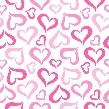 upturned: Hearts seamless pattern. Valentines Day background. Stylized cute heart shapes made of two curved parts. Hearts of different sizes texture. Shades of pink. Illustration