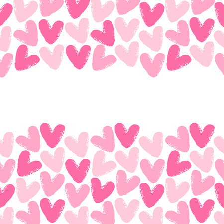 uneven edge: Borders made of brush drawn hearts. Seamless in horizontal direction. Valentines Day background with space for text. Rough, artistic, uneven edges. Shades of pink.