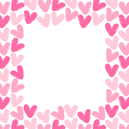 rough: Brush drawn hearts square frame. Valentines Day background with space for text. Rough, artistic, uneven edges. Shades of pink.