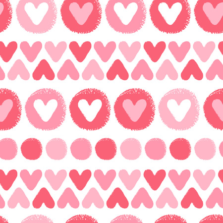 rows: Brush drawn hearts and circles seamless pattern. Valentines Day background. Hand drawn - rough, artistic edges. Shades of red hearts and circles texture. Illustration